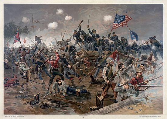 A painting of Lee's Army of Northern Virginia fighting the U.S. Army at Spotsylvania in 1864. Battle of Spottsylvania by Thure de Thulstrup.jpg