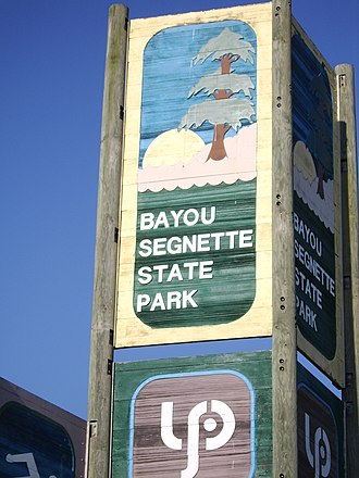Bayou Segnette State Park - The entrance sign to Bayou Segnette State Park.