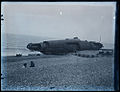 Beached submarine, possibly German U-Boat U131 at Hastings in 1918.jpg