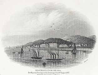 Beaumaris from the sea: Her Majesty passing on the evening of the 14th August 1847