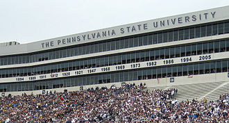 Beaver Stadium - A view of the lettering and years added to the suites in 2006.