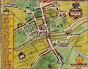 "Gazetteer - John Speed's map of ""Bedforde"", from his Theatre of the Empire of Great Britaine, published in 1611"