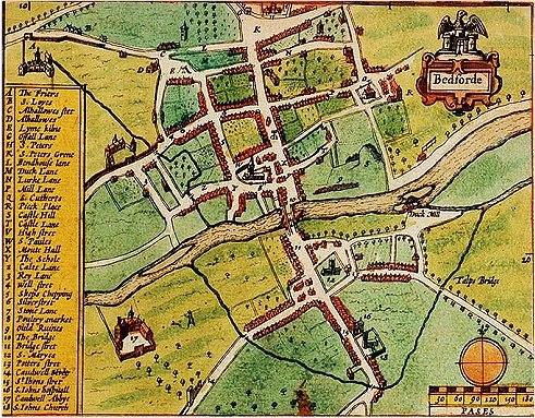Bedford - John Speed's map (1611)