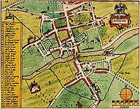 "John Speed's map of ""Bedforde"", from his Theatre of the Empire of Great Britaine, published in 1611"