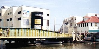 Albert (Belize House constituency) - Belize City's historic Swing Bridge with the Belize City Commercial Center (located in Albert) in the background.