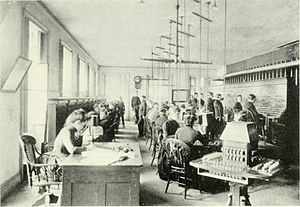 Switchboard operator - New York telephone exchange in the 1880s, with both women and boys as operators