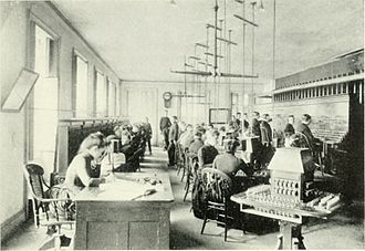 Switchboard operator - New York telephone exchange in the 1880s, with both men and women as operators