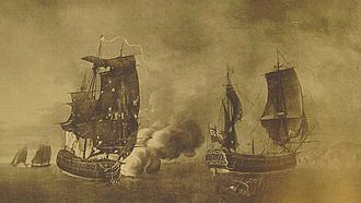 French frigate Belle Poule (1765) - A painting by Auguste-Louis de Rossel de Cercy depicting the fight of Belle Poule and Arethusa