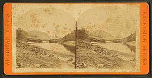 South Fork Dam - An 1889 stereoscope view of the dam after the flood.