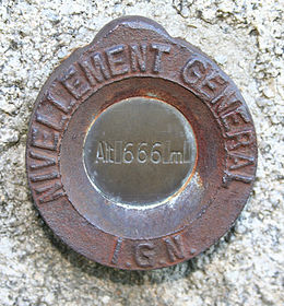 Bench mark at Saint Goussaud, Limousin, France, by Institut Geographique National.jpg
