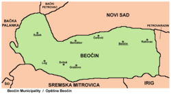 Map of the Beočin municipality, showing the location of Susek