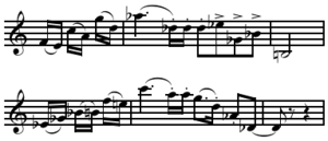 Permutation (music) - Image: Berg's Lyric Suite Mov. I thematic statement