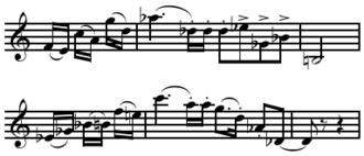 Permutation (music) - Image: Berg's Lyric Suite Mov. I thematic statement