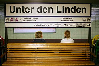 Berlin Brandenburger Tor station - Unter den Linden station sign in 2007.
