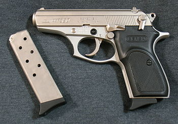 English: Bersa Thunder 380 pistol with nickel ...
