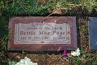 Bettie Page grave at Westwood Village Memorial Park Cemetery in Brentwood, California.JPG