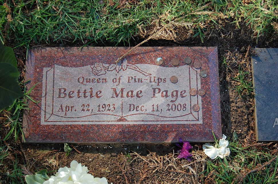 Bettie Page grave at Westwood Village Memorial Park Cemetery in Brentwood, California