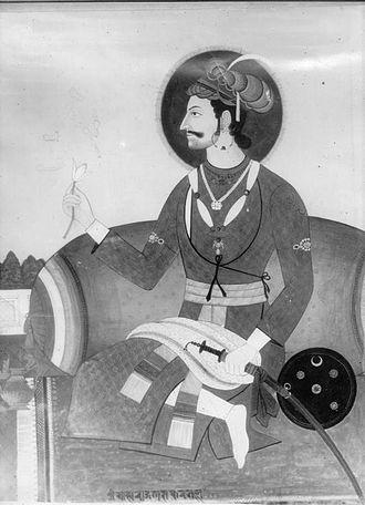 Malla (Nepal) - Bhaskar Malla of Kathmandu (r. 1700-1714) dressed in Mughal fashion