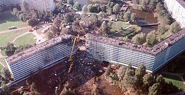 Plaats van de ramp, gezien in westelijke richting