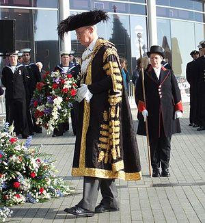Trafalgar Day - The Lord Mayor of Birmingham lays a wreath at Birmingham's statue of Lord Nelson on Trafalgar Day 2007.