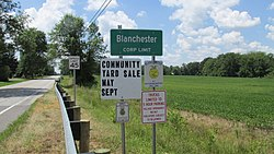 Blanchester corporation limit sign
