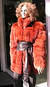 Bluefrost fox fur jacket, red dyed, Düsseldorf, Germany 2007.jpg
