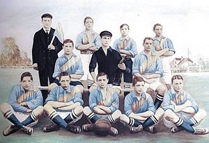 History of Boca Juniors - A 1908 Boca team of the young division, still using the jersey with the diagonal sash that remained until 1913.