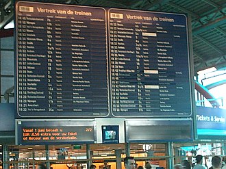 Public transport timetable - Dynamic display in the central hall at Utrecht Centraal railway station, listing the departures for the next hour or so.