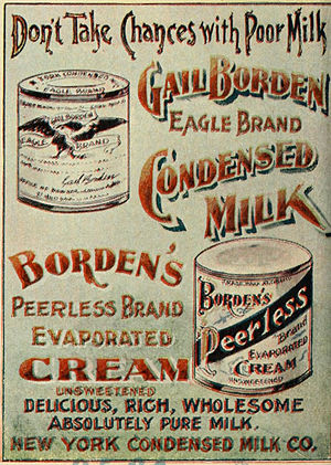 Borden (company) - Advertisement for Borden's Eagle Brand Condensed Milk and Peerless Brand Evaporated Cream in an 1898 guidebook for travelers in the Klondike Gold Rush