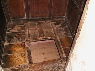 Boscobel House - Alleged priest hole on the first floor of Boscobel House, at present in a bedroom cupboard. Its authenticity is open to challenge.