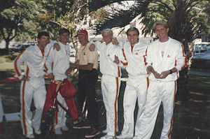 Lindley Bothwell - Lindley Bothwell with USC Yell Leaders in 1986 on USC Campus