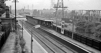 Birmingham West Suburban Railway - Bournville railway station in 1962, pre-electrification, looking northeast from Mary Vale Road bridge
