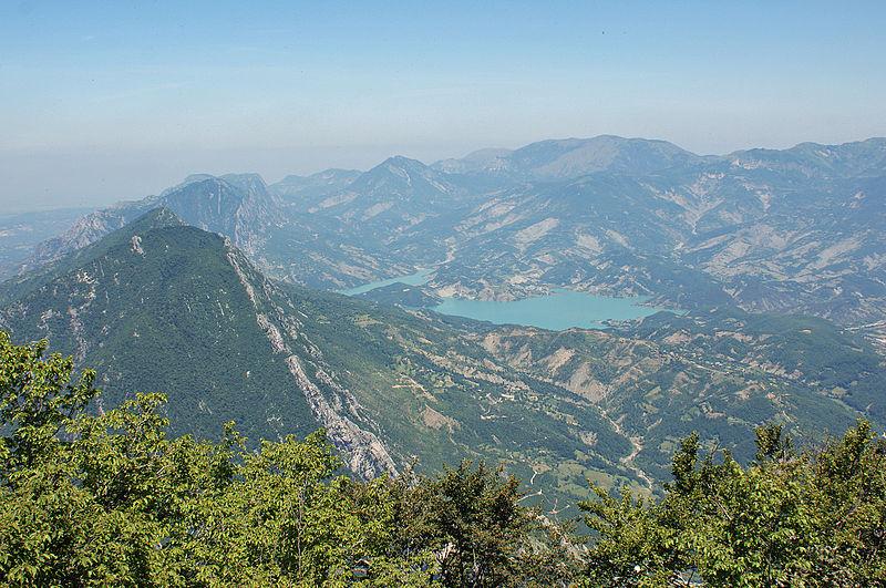 Bovilla Reservoir and surroundings North of Tirana seen from Maja e Tujanit (Mount Dajti).
