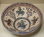 Bowl with horsemen, Mina'i ware,Central Iran, Seljuk period, late 12th or early 13th century AD, earthenware with polychrome enamels and gold over a white glaze and colors - Cincinnati Art Museum - DSC04005.JPG