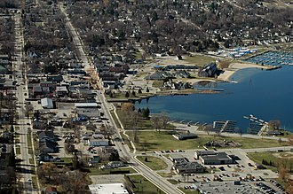 Boyne City, Michigan - Aerial view of Boyne City