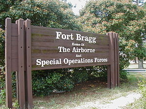 A sign at one of the entrances to Fort Bragg.
