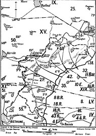 Black thrust lines on the map denote the attacks made by German forces.
