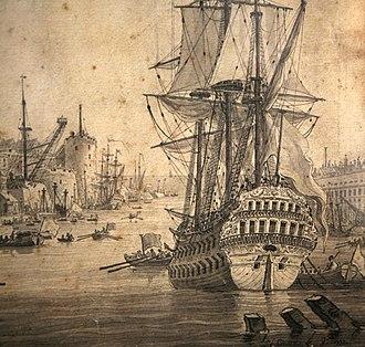 Louis-François Cassas - Detail of Brest, Penfeld harbour in 1777, by Louis-François Cassas.