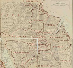 Town of Brisbane - Map of Borough of Brisbane and adjacent local government areas, March 1902.
