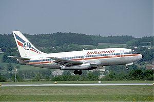 Britannia Airways - A Britannia Airways Boeing 737-200 landing at Zürich Airport, Switzerland. (1985)