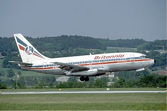 Britannia Airways - A Britannia Airways Boeing 737-200 landing at Zürich Airport, Switzerland. (1985)