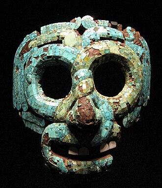 Mixtec - Turquoise mosaic mask. Mixtec-Aztec, 1400-1521 AD