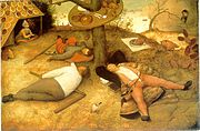 In a detail of Brueghel's Land of Cockaigne (1567) a soft-boiled egg has little feet to rush to the luxuriating peasant who catches drops of honey on his tongue, while roast pigs roam wild: in fact, hunger and harsh winters were realities for the average European in the 16th century.