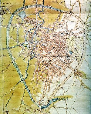Fortifications of Brussels - A 1555 map of the city. The inner first walls are less visible than the outer second walls. Click on the image to enlarge.