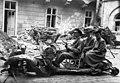 Budapest 1945, Carl Lutz, DKW wreck, jesting, chariot Fortepan 105834.jpg
