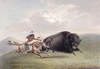 Bison hunting - A bison hunt depicted by George Catlin