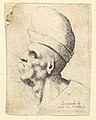 Bust of a deformed man wearing a bulbous hat in profile to the left MET DP823709.jpg