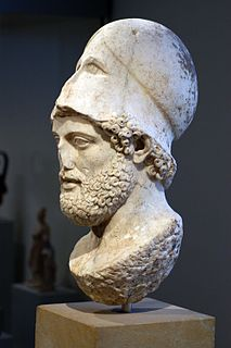 Pericles with the Corinthian helmet ancient roman marble bust(s), based on an ancient greek bronce statue