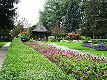 Pictured are the flower gardens and gazebo at the north end of Buxton Park Arboretum.