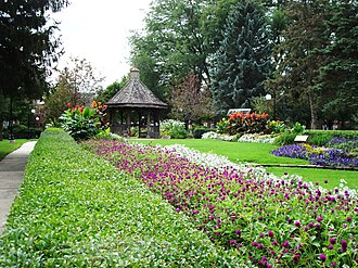 Indianola, Iowa - Gazebo and flower gardens in Buxton Park Arboretum